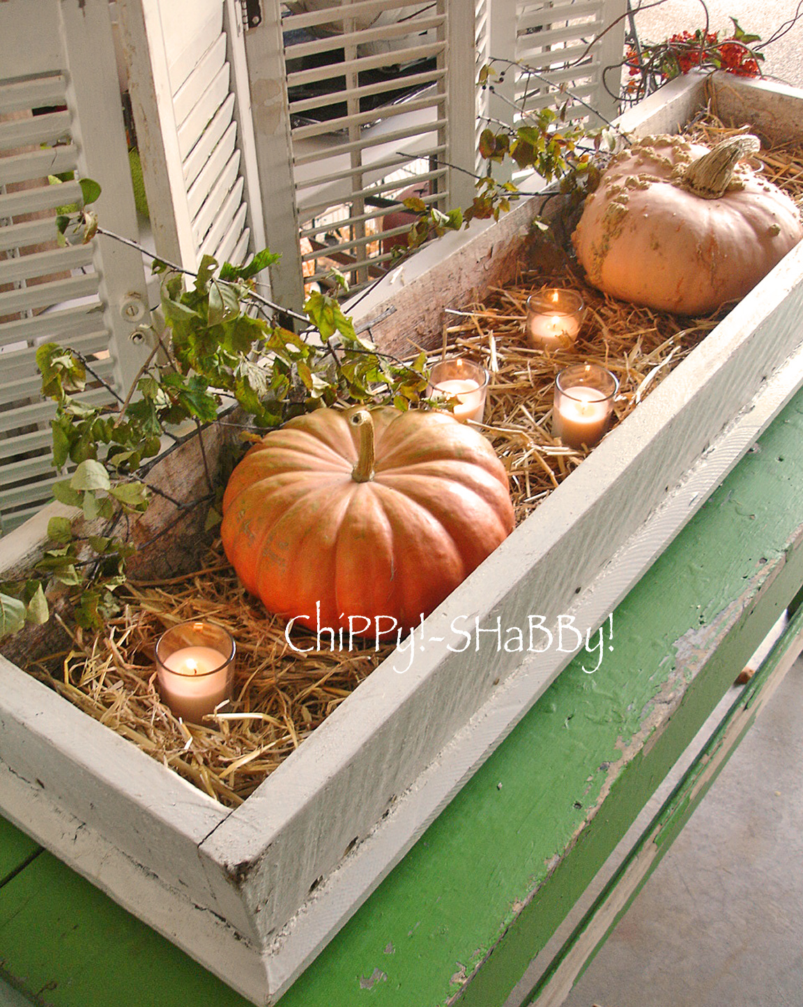 Chippy shabby re purposed fall harvest table
