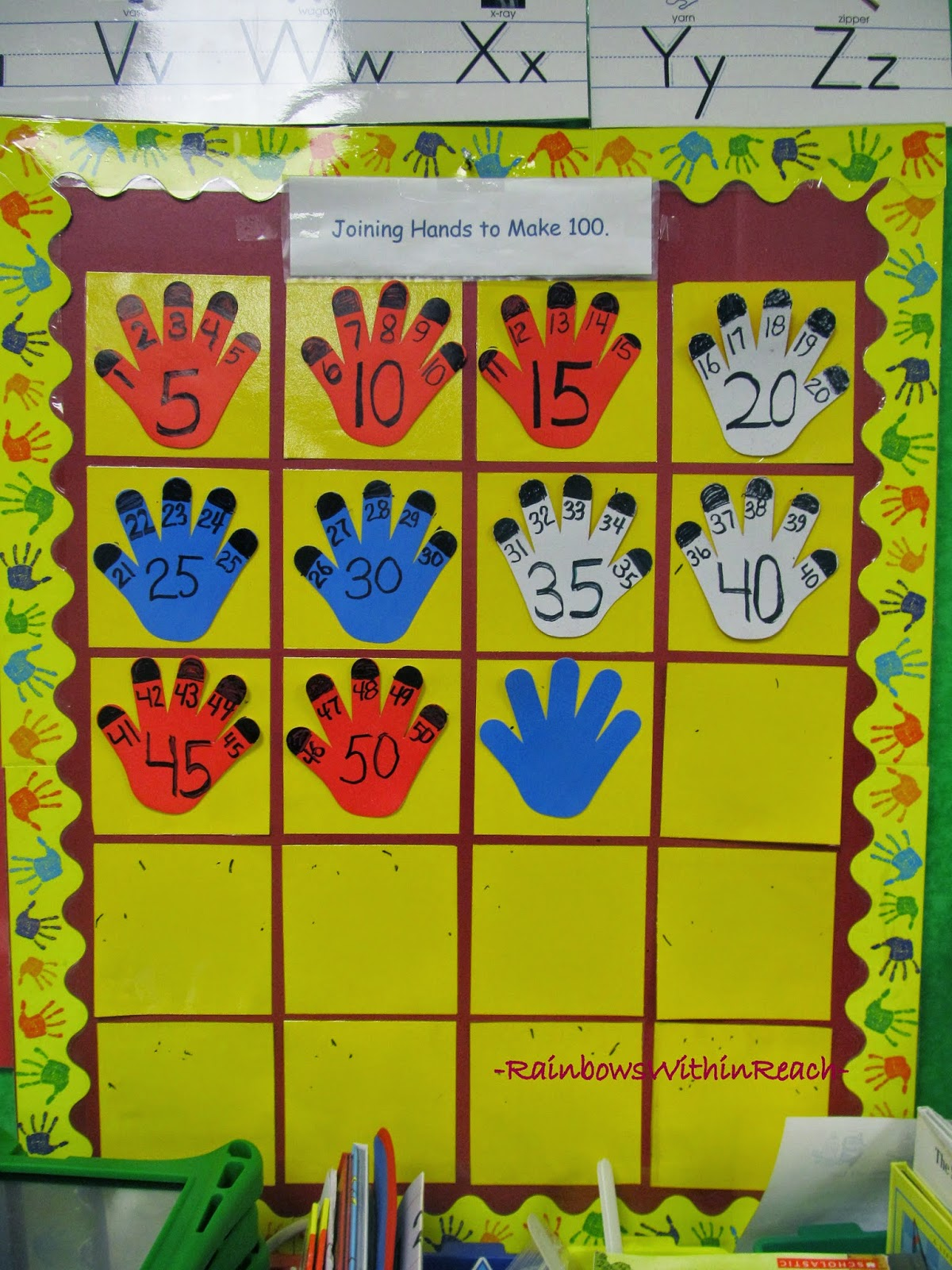 100 Day Counting Chart: Fingers on Hands Count via RainbowsWithinReach
