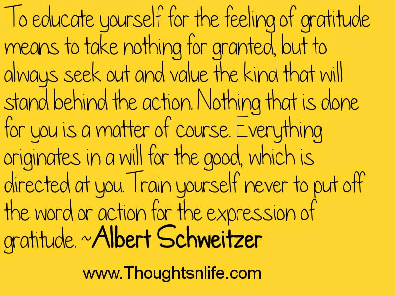 To educate yourself for the feeling of gratitude means to take nothing for granted, but.. ~Albert Schweitzer Thoughtsnlife.com