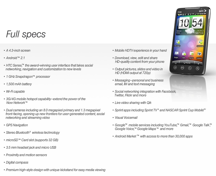 specification android phone