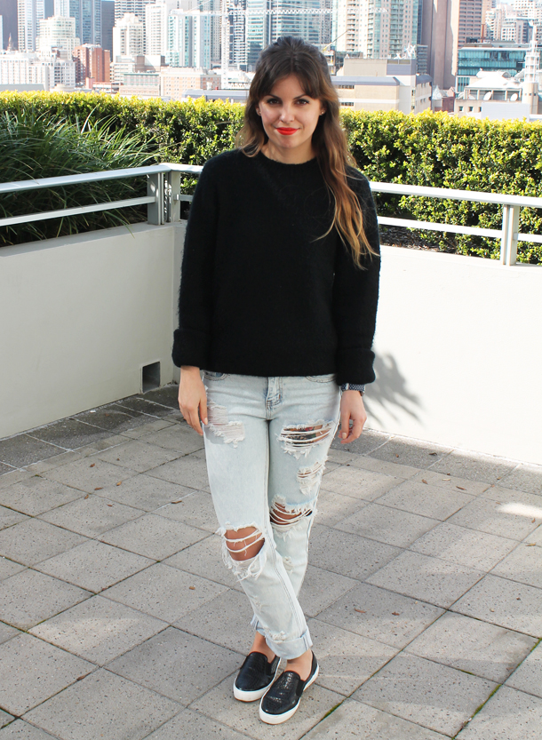 Sweet Monday, outfit, ootd, Glamorous, ripped mom jeans