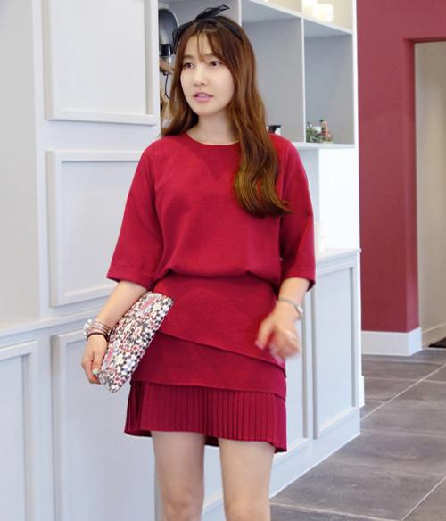 [Miamasvin] Blouson Dress With Pleated Hem