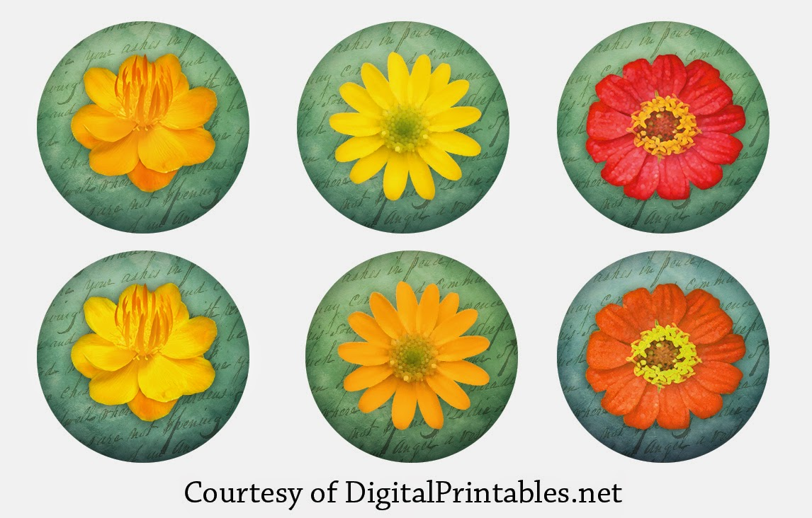 free high res printable flowers for bottle caps and pendants
