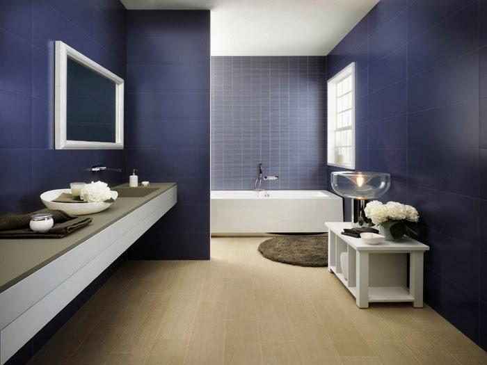 Baños Modernos Azules:Foto de decoración de baño color azul Paredes azules dan elegancia