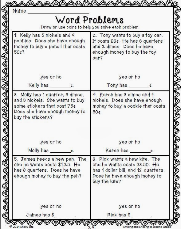 Math Word Problems 2nd Grade Money word problems