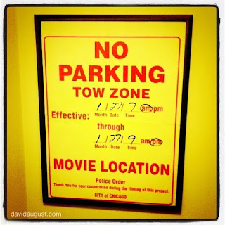 movie location temporary no parking sign from the City of Chicago