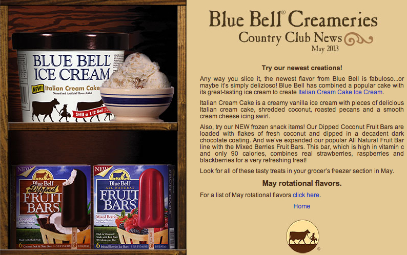 food and ice cream recipes NEWS Blue Bell Announce Their May