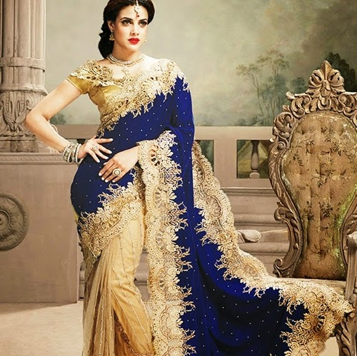 Luxury indian sarees 2015 fancy party wear saree latest saree