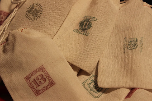 These stamped muslin bags are perfect for a homemade advent calendar