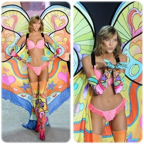 Outfit psichedelico per la giovanissima top model americana. Karlie Kloss è stata inclusa tra le ambasciatrici del marchio VS nel 2013.