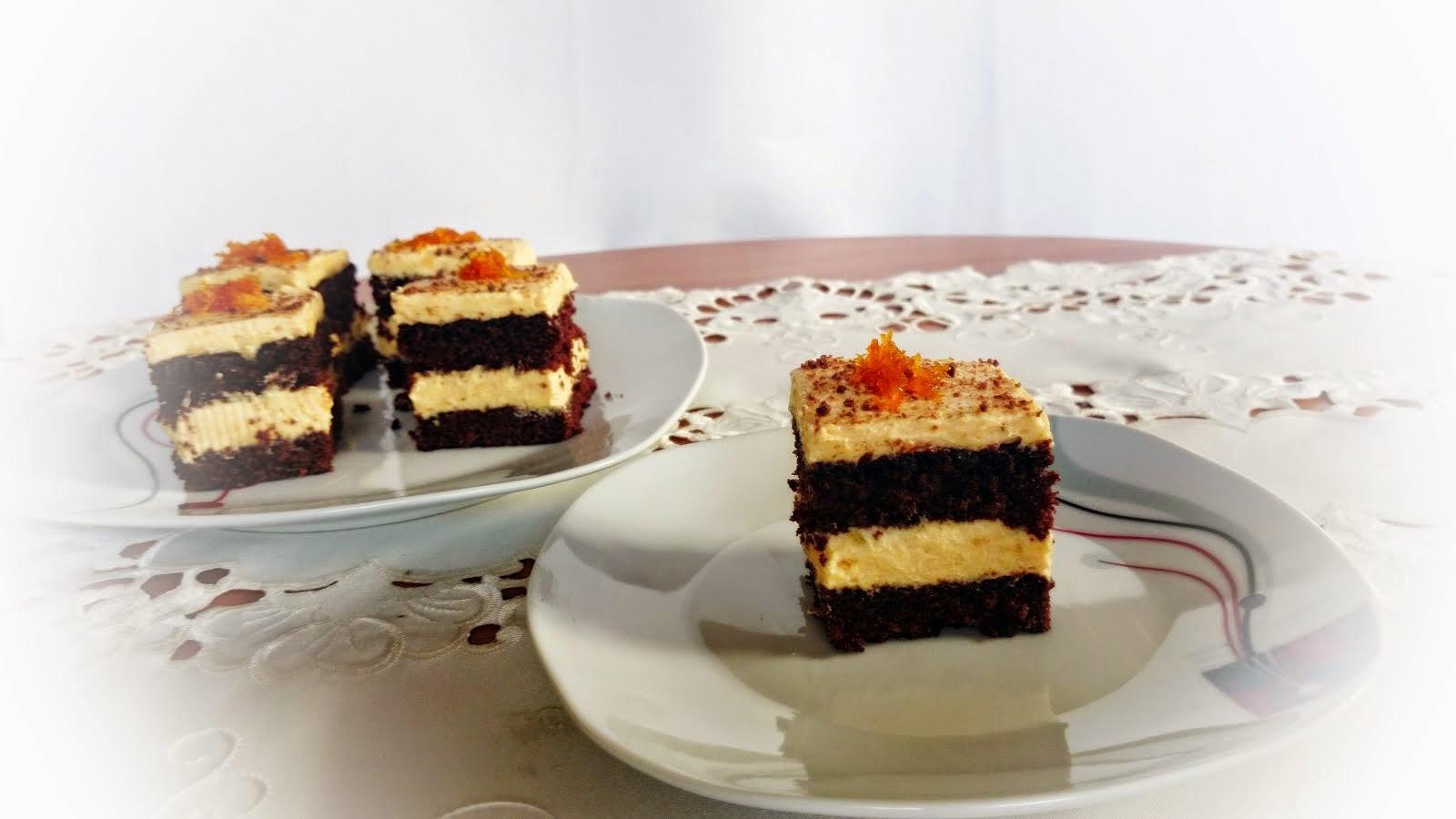 Ciasto czekoladowe z kremem pomarańczowm