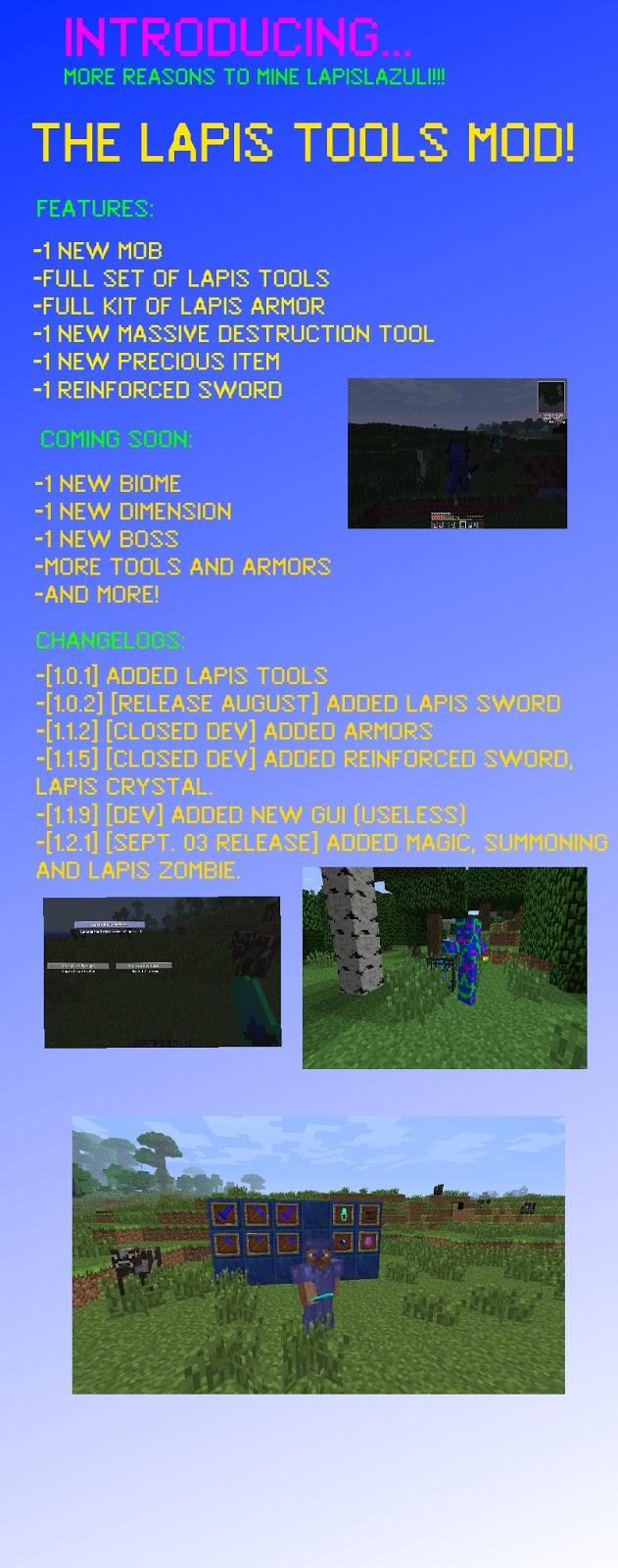 Minecraft Lapis Lazuli Pickaxe (pickaxe,axe,sword,spade,hoe)