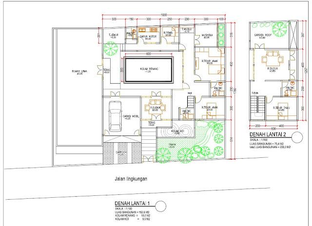 desain gambar denah kolam renang dan rumah minimalis 2