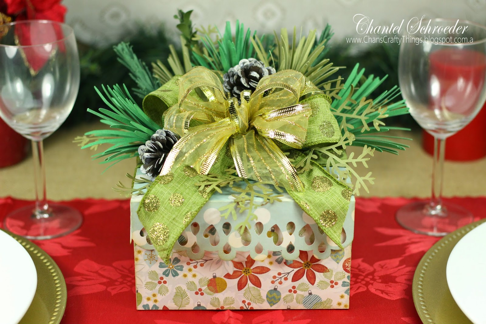 Wintergreen Gift Box Bouquet Centerpiece Front View