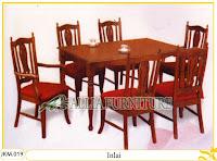 Kursi dan Meja Makan Ukiran Kayu Jati Inlai