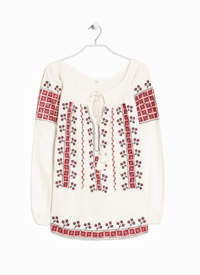 Mango Ethnic Embroidery Blouse
