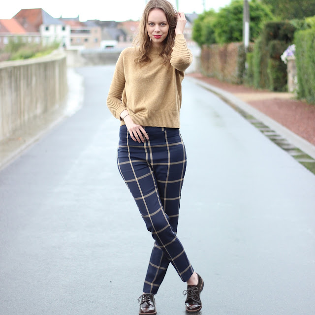 checked trousers fall outfit