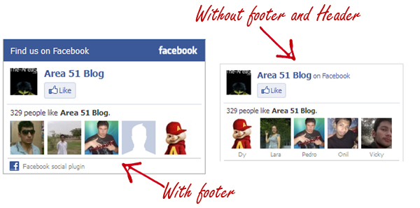 facebook like box without footer