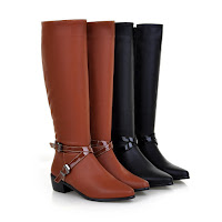 Autumn Brown black knee calf Boots