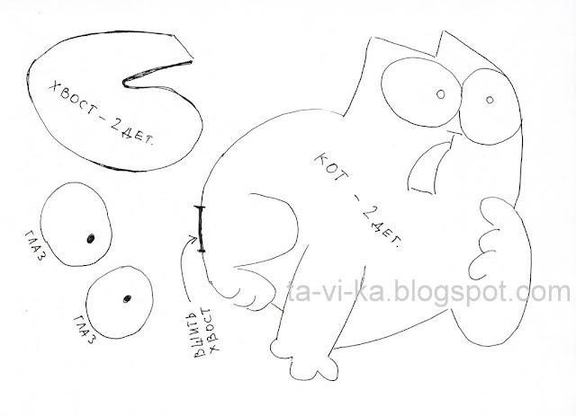 выкройка мягкой игрушки кот саймона