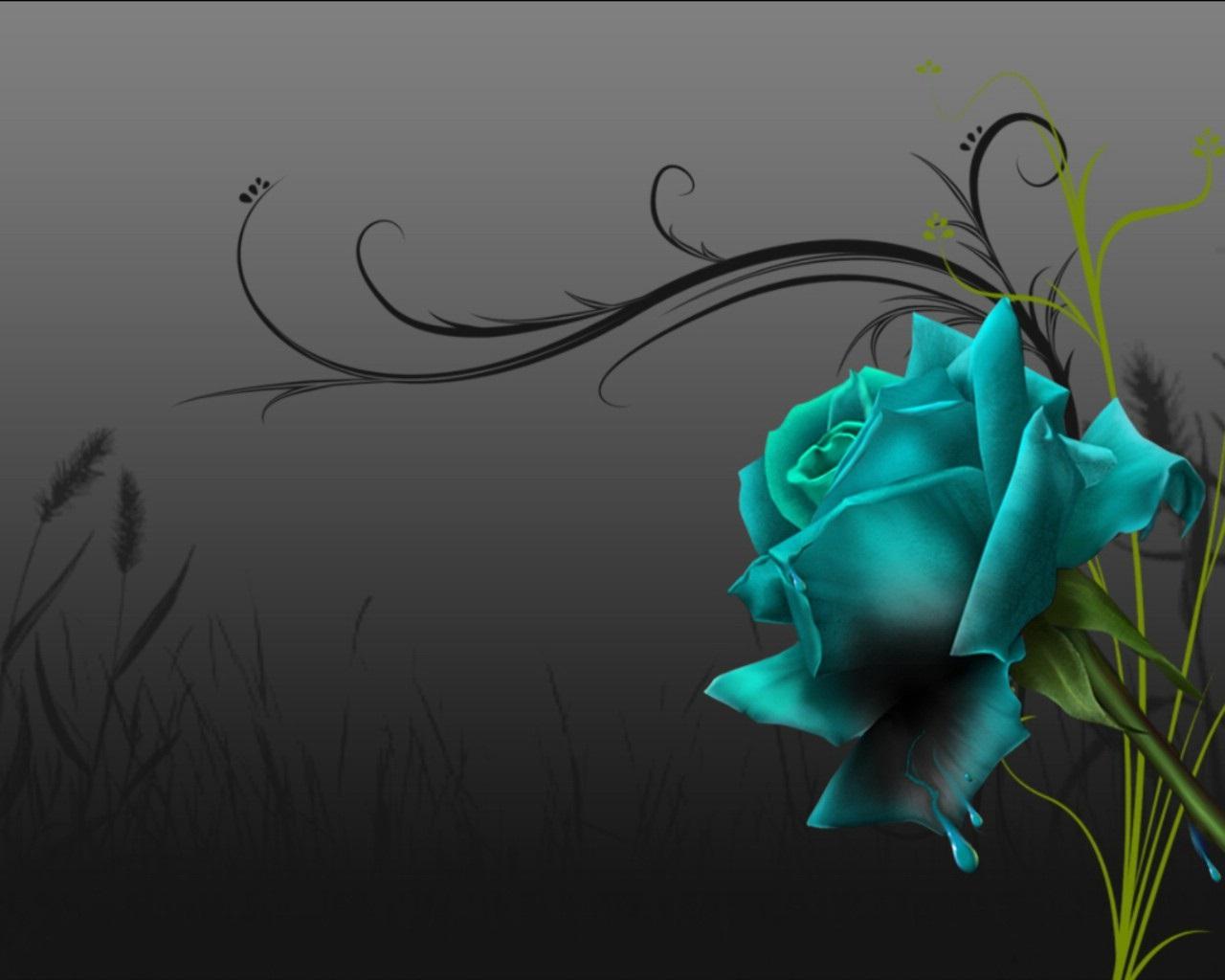 Black And Blue Rose Wallpaper