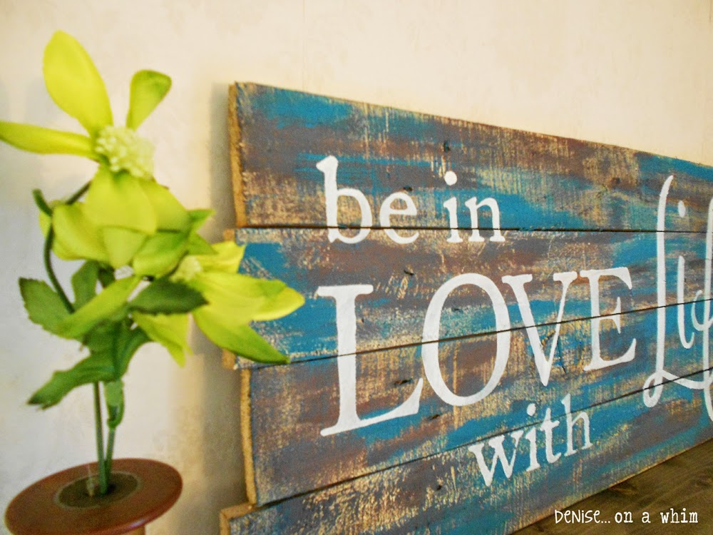 Teal and Brown Pallet Sign by Denise On a Whim
