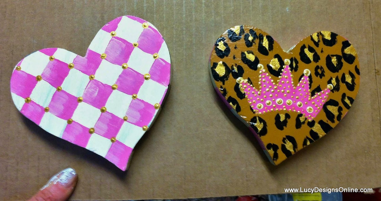 hand painted animal print and check hearts