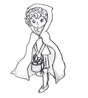 Desenho como desenhar Little Red Riding Hood brothers grimm pintar e colorir