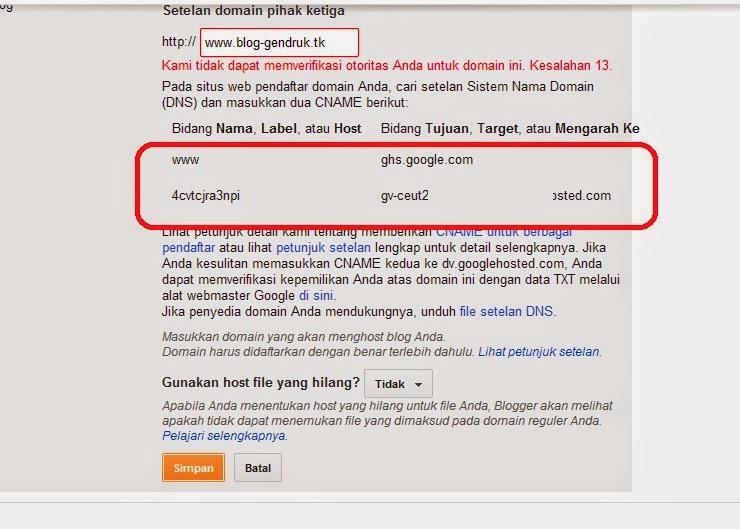 Menggabungan Domain dengan Blogspot