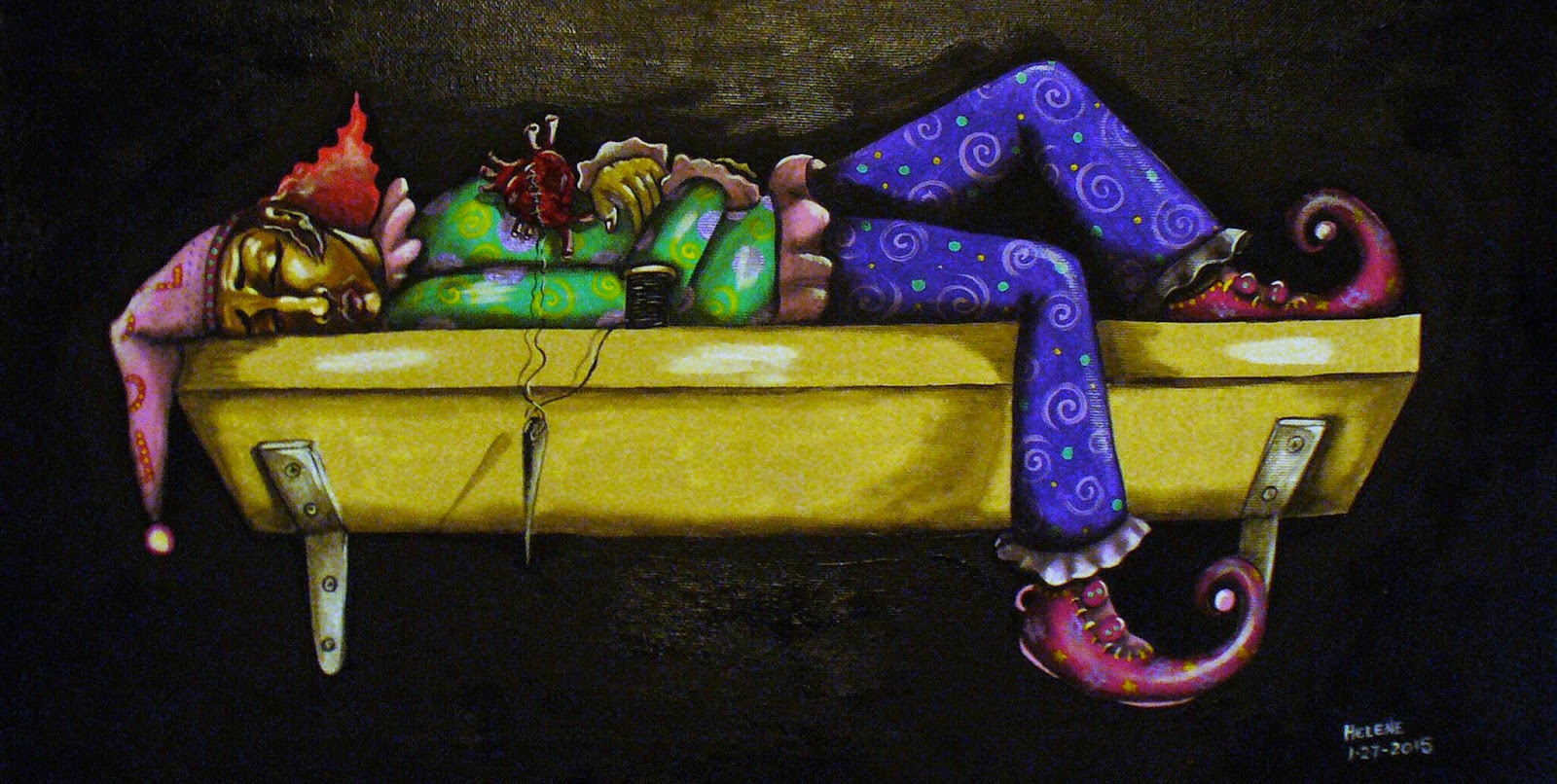 Jester or fool garbed sleeping or dead character reposed in yellow bathtub with heart outside of chest on black background
