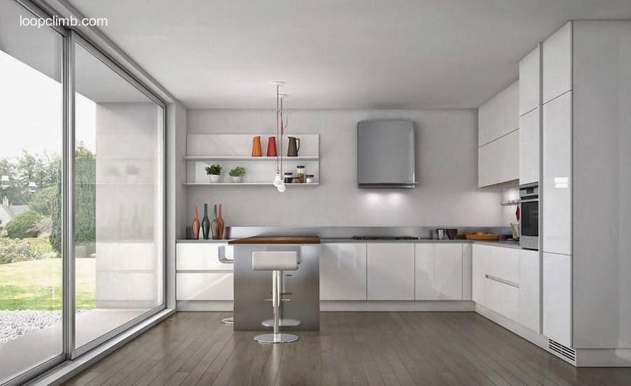Diseño de cocina contemporánea en blanco y acero inoxidable