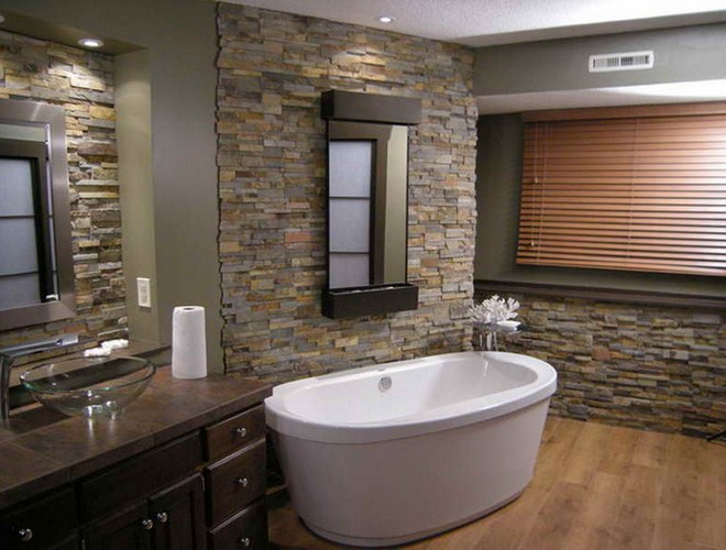 Modern Natural Bathroom Designs : Innovative modern bathroom designs with stone walls and
