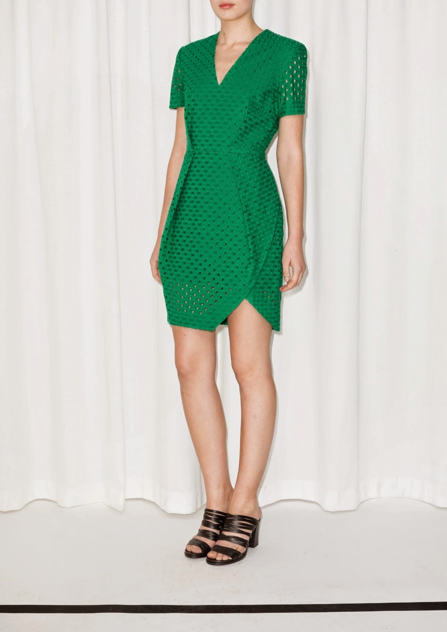 stories green wrap dress