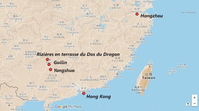 Carte et itinéraire en Chine