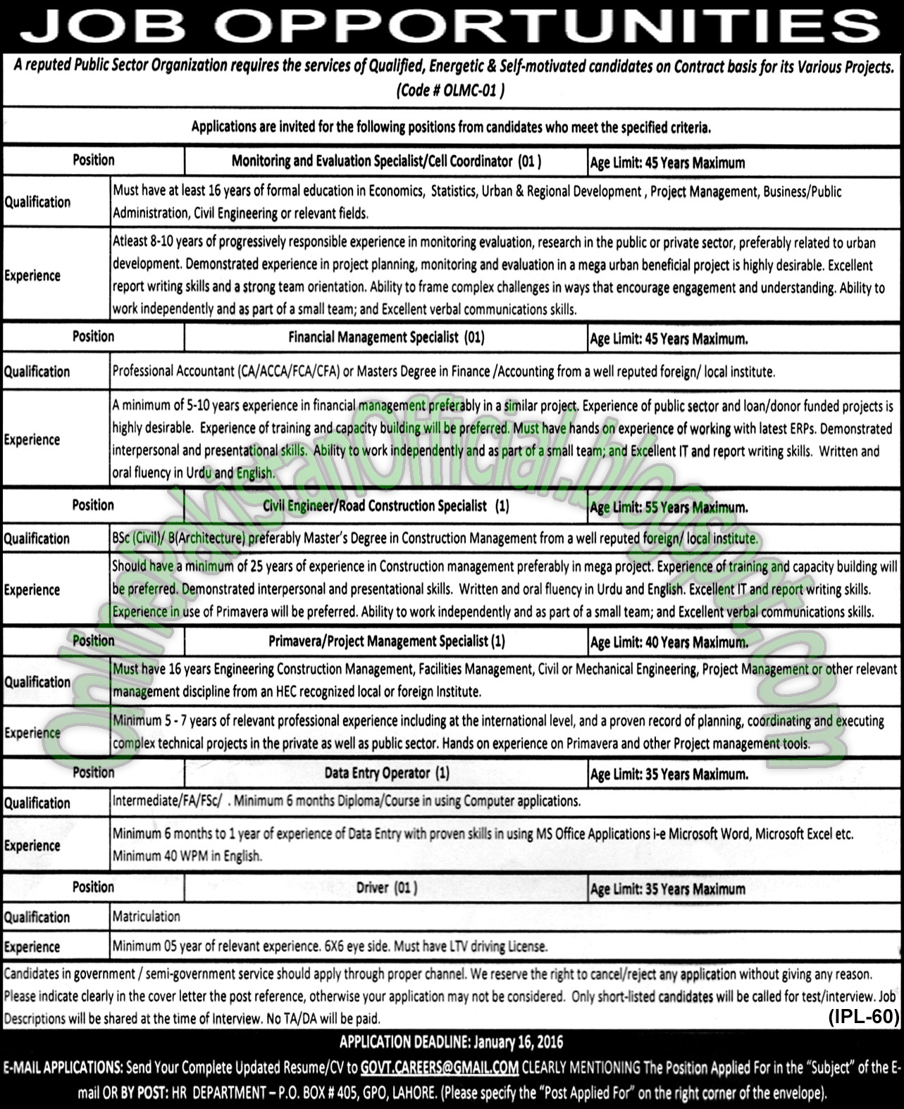 Public Sector Organization - Lahore latest jobs 2016