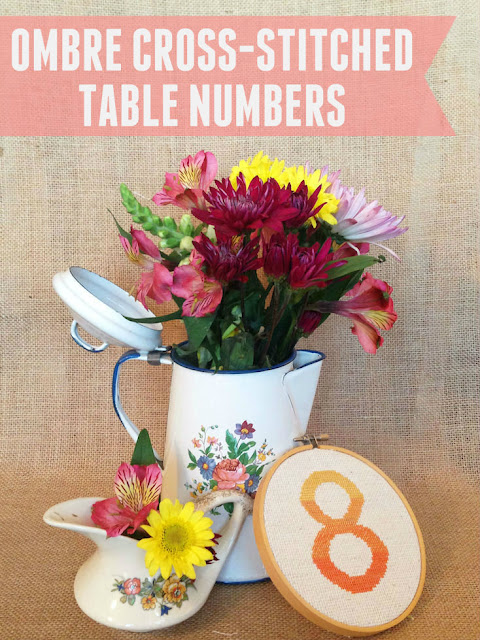 Make these beautiful ombre table numbers with as few as two colors of embroidery floss!