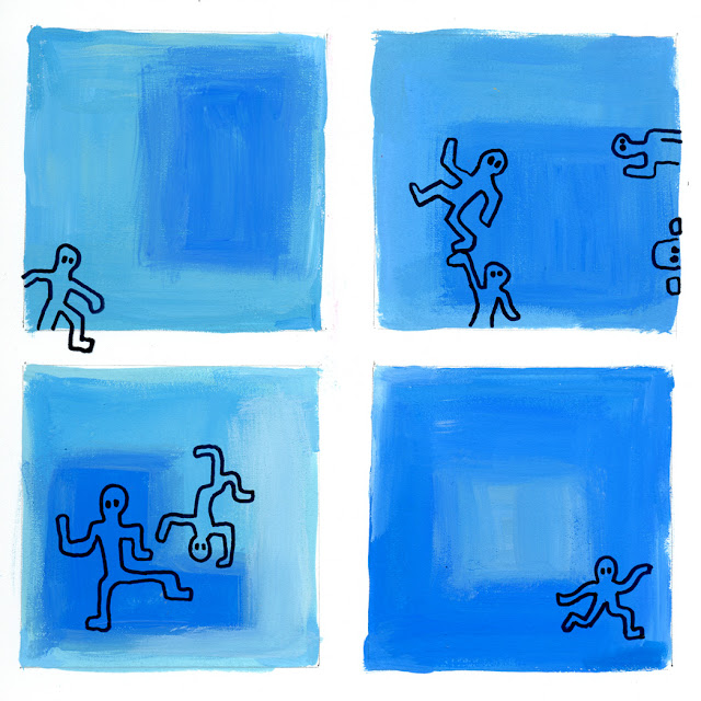 Colored squares with Haring-like figures