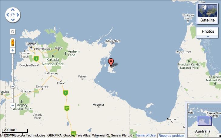 Groote eylandt map