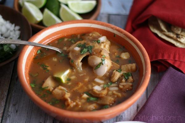 Menudo (Red Chile Tripe Soup) via www.girlichef.com