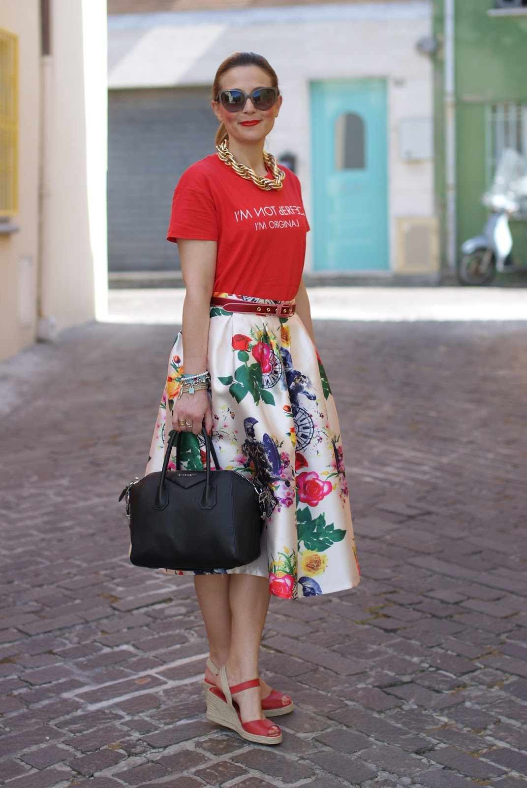 how to wear red espadrilles worn with a midi skirt on Fashion and Cookies fashion blog, exploring the espadrilles trend