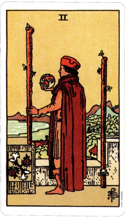 Original Rider Waite Tarot Two of Wands