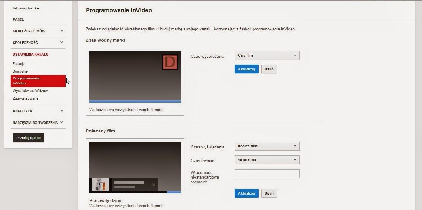 Youtube - Ustawienia kanału