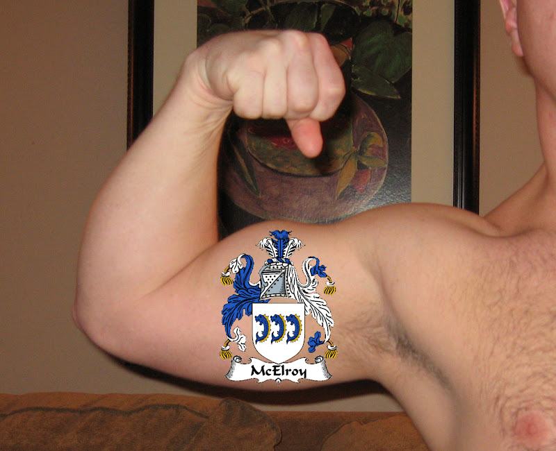 body by tattooing his family crest on his sweet, toned right bicep title=