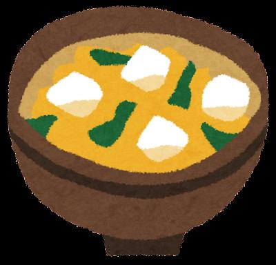 味噌汁のイラスト「豆腐とわかめ」