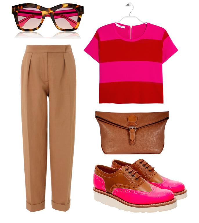 tan and pink vivienne westwood cassis mango striped sweater fend sunglasses grenson brogues