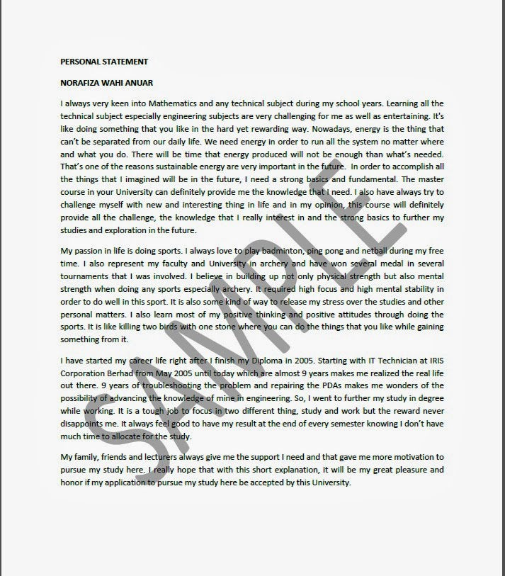 personal statement template