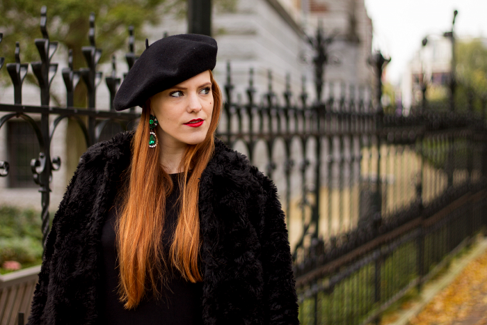 Beret, black dress, faux fur jacket and emerald earrings vintage style outfit