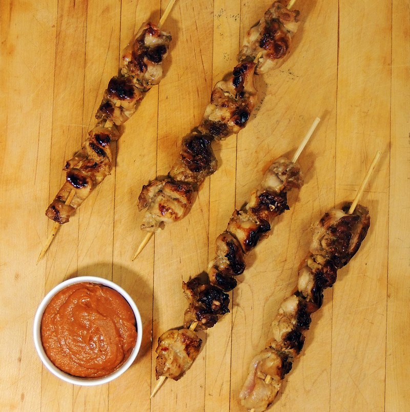 Chicken Satay with Spicy Peanut Sauce from www.bobbiskozykitchen.com