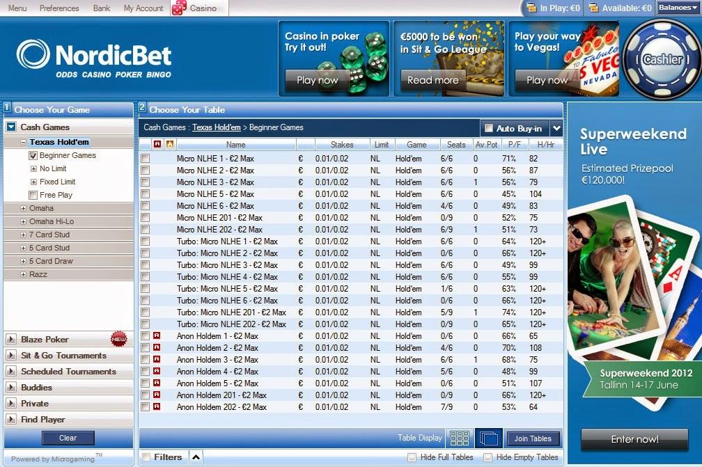 Nordicbet Poker Texas Holdem Screen
