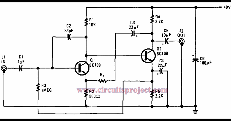 simple g purpose preamplifier circuit diagram